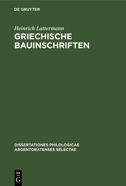 Griechische Bauinschriften - Coverbild