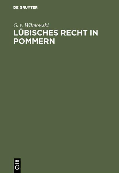 Lübisches Recht in Pommern - Coverbild