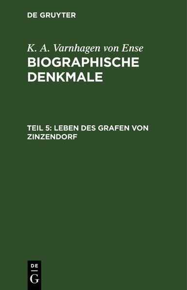Leben des Grafen von Zinzendorf - Coverbild