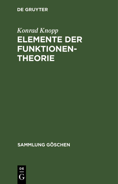 Elemente der Funktionentheorie - Coverbild