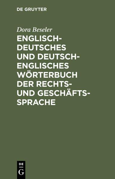 Englisch-deutsches und deutsch-englisches Wörterbuch der Rechts- und Geschäftssprache - Coverbild