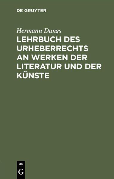 Lehrbuch des Urheberrechts an Werken der Literatur und der Künste - Coverbild
