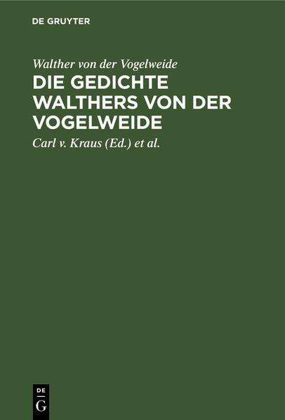 Die Gedichte Walthers von der Vogelweide - Coverbild