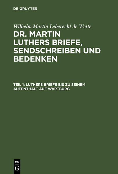 Luthers Briefe bis zu seinem Aufenthalt auf Wartburg - Coverbild