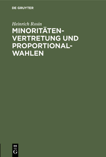 Minoritätenvertretung und Proportionalwahlen - Coverbild