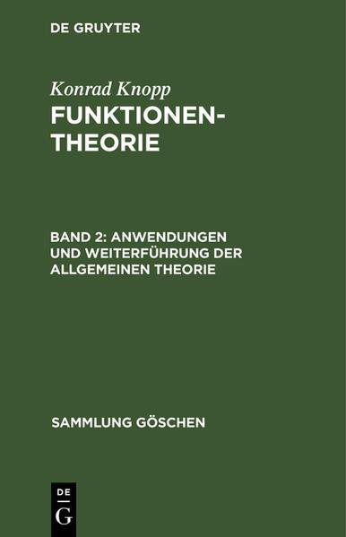 Anwendungen und Weiterführung der allgemeinen Theorie - Coverbild