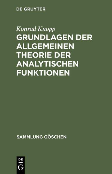 Grundlagen der allgemeinen Theorie der analytischen Funktionen - Coverbild