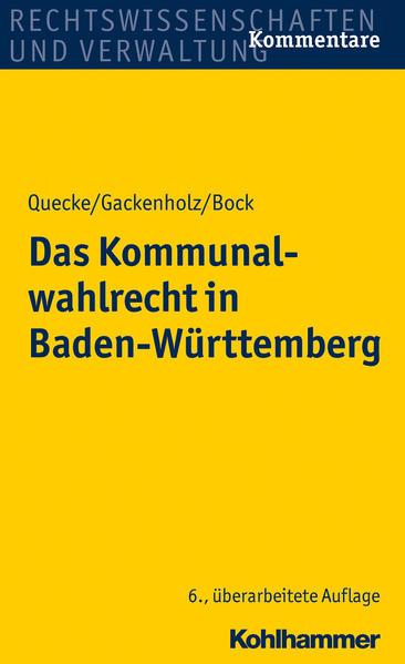 Das Kommunalwahlrecht in Baden-Württemberg - Coverbild