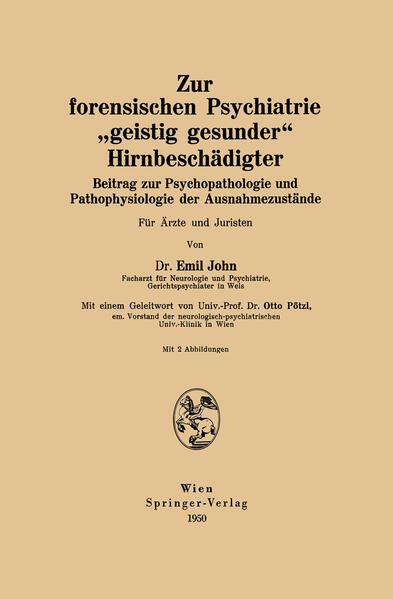 """Zur forensischen Psychiatrie """"geistig gesunder"""" Hirnbeschädigter - Coverbild"""