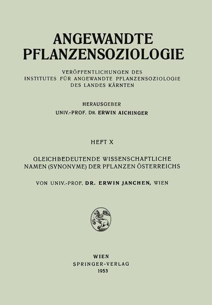 Gleichbedeutende Wissenschaftliche Namen (Synonyme) Der Pflanzen Österreichs - Coverbild