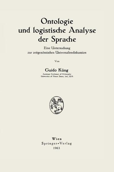 Ontologie und logistische Analyse der Sprache - Coverbild