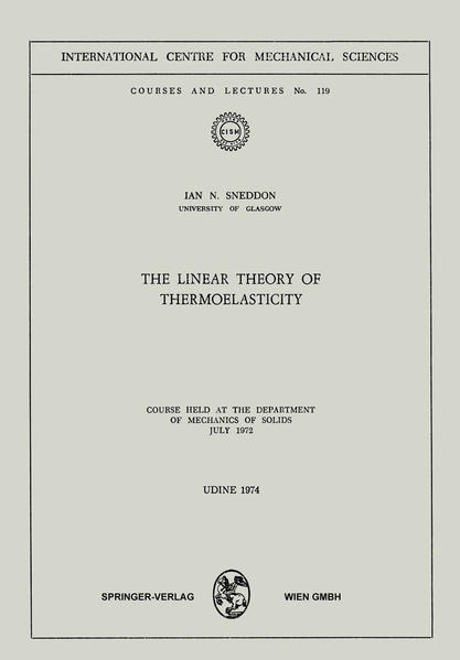 The Linear Theory of Thermoelasticity - Coverbild
