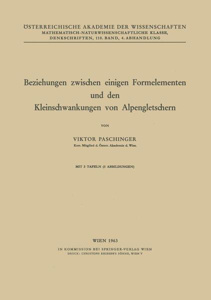 Beziehungen zwischen einigen Formelementen und den Kleinschwankungen von Alpengletschern - Coverbild