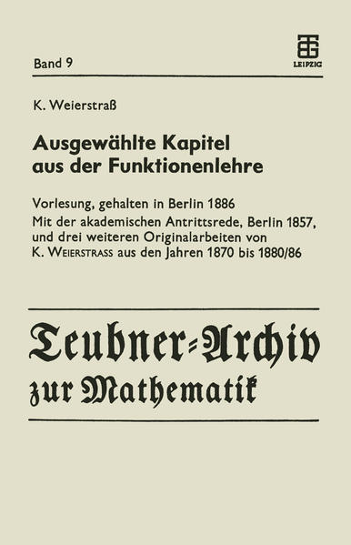 Ausgewählte Kapitel aus der Funktionenlehre - Coverbild