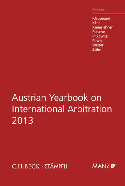 Austrian Yearbook on International Arbitration 2013 - Coverbild
