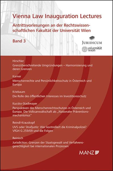 Antrittsvorlesungen an der Rechtswissenschaftlichen Fakultät der Universität Wien - Coverbild