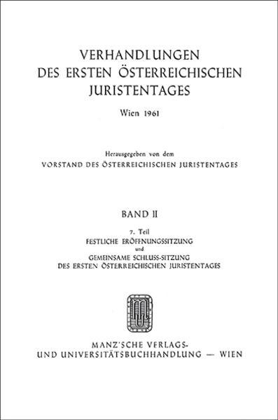 1. Österreichischer Juristentag 1961 - Coverbild
