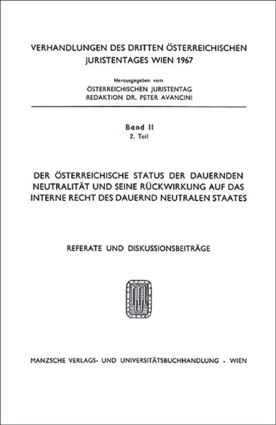 3. Österreichischer Juristentag 1967 Verfassungs- und Völkerrecht - Coverbild