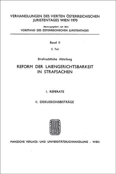4. Österreichischer Juristentag 1970 Strafrecht - Coverbild