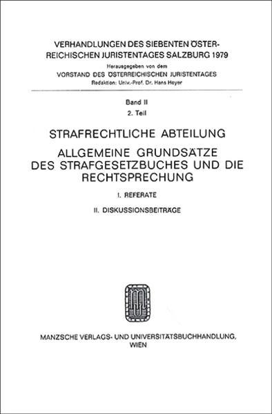 7. Österreichischer Juristentag 1979 Strafrecht - Coverbild
