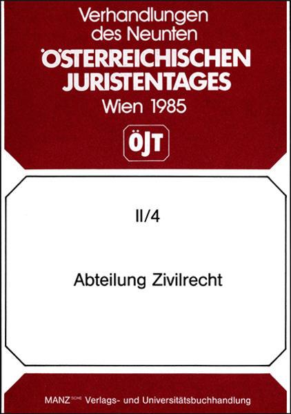 9. Österreichischer Juristentag 1985 Zivilrecht - Coverbild