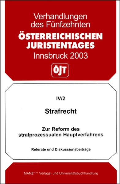 15. Österreichischer Juristentag 2003 Strafrecht - Coverbild