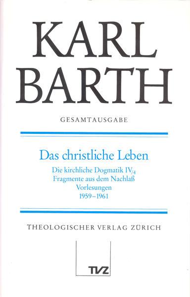 Karl Barth Gesamtausgabe - Coverbild