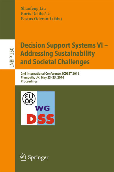 Decision Support Systems VI - Addressing Sustainability and Societal Challenges - Coverbild