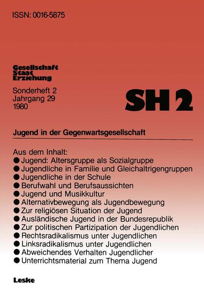 Jugend in der Gegenwartsgesellschaft - Coverbild