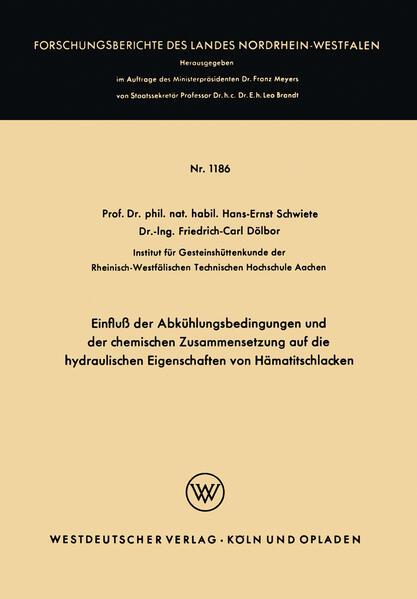 Einfluß der Abkühlungsbedingungen und der chemischen Zusammensetzung auf die hydraulischen Eigenschaften von Hämatitschlacken - Coverbild