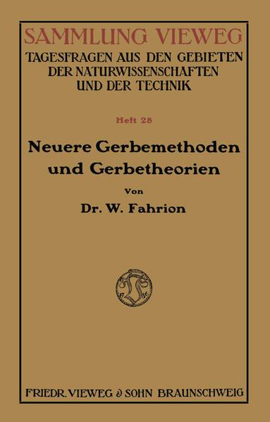 Neuere Gerbemethoden und Gerbetheorien - Coverbild