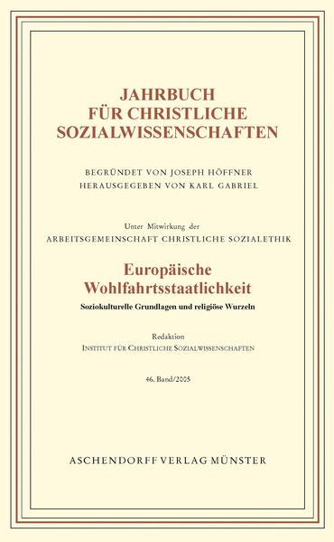 Jahrbuch für christliche Sozialwissenschaften / Europäische Wohlfahrtsstaatlichkeit - Coverbild