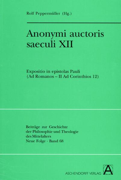 Anonymi auctoris saeculi XII - Coverbild