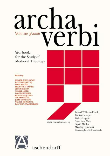 Archa Verbi. Yearbook for the Study of Medieval Theology - Coverbild
