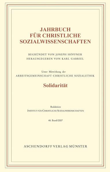 Jahrbuch für christliche Sozialwissenschaften / Jahrbuch für christliche Sozialwissenschaften - Coverbild