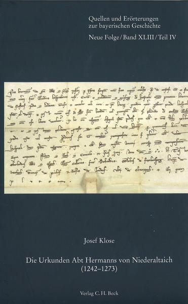 Die Urkunden Abt Hermanns von Niederaltaich (1242-1273) - Coverbild