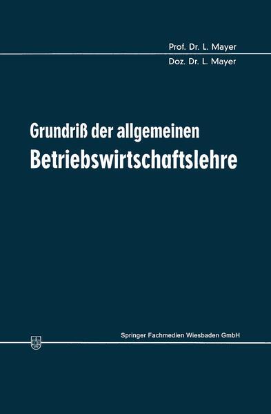 Grundriß der allgemeinen Betriebswirtschaftslehre - Coverbild