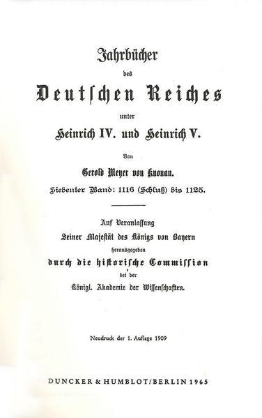 Jahrbücher des Deutschen Reiches unter Heinrich IV. und Heinrich V. - Coverbild