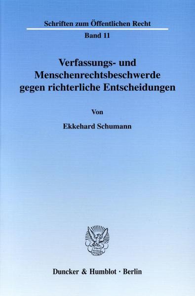 Verfassungs- und Menschenrechtsbeschwerde gegen richterliche Entscheidungen. - Coverbild