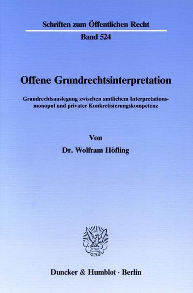 Offene Grundrechtsinterpretation. - Coverbild