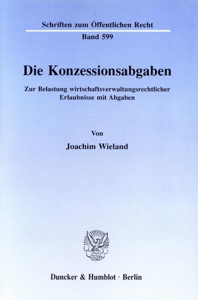 Die Konzessionsabgaben. - Coverbild