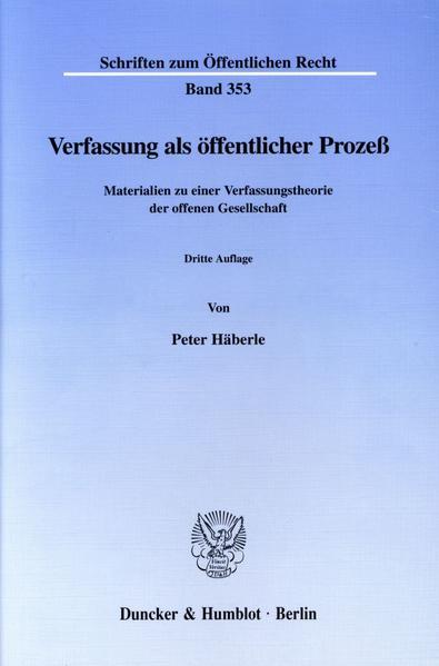 Verfassung als öffentlicher Prozeß. - Coverbild