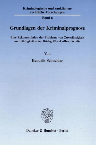 Grundlagen der Kriminalprognose. - Coverbild