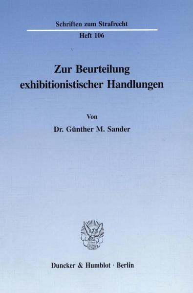 Zur Beurteilung exhibitionistischer Handlungen. - Coverbild