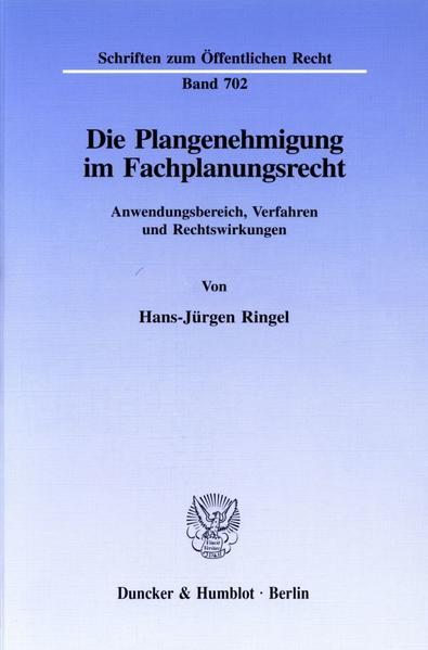 Die Plangenehmigung im Fachplanungsrecht. - Coverbild