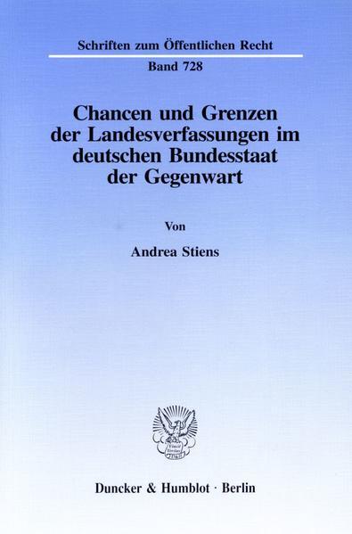 Chancen und Grenzen der Landesverfassungen im deutschen Bundesstaat der Gegenwart. - Coverbild