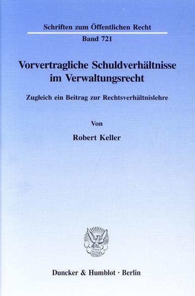Vorvertragliche Schuldverhältnisse im Verwaltungsrecht. - Coverbild