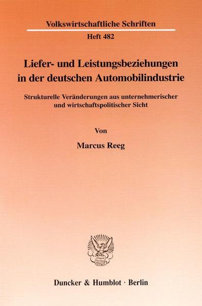 Liefer- und Leistungsbeziehungen in der deutschen Automobilindustrie. - Coverbild