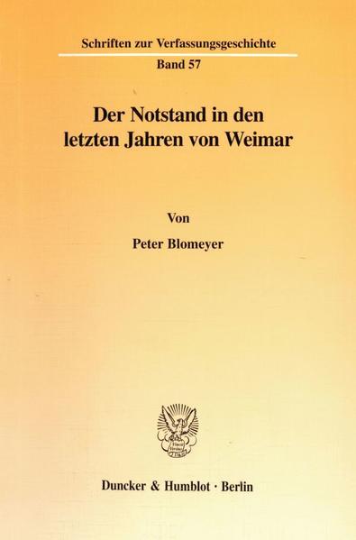 Der Notstand in den letzten Jahren von Weimar. - Coverbild