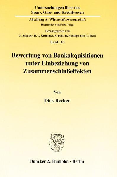 Bewertung von Bankakquisitionen unter Einbeziehung von Zusammenschlußeffekten. - Coverbild